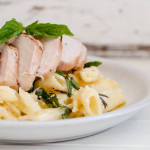 Grilled Chicken with Lemon, Basil Pasta