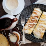 Pumpkin Mousse Crepes with Maple Butter and Vanilla Sauce