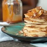 Apple Pancakes with Caramel Apple and Walnut Topping