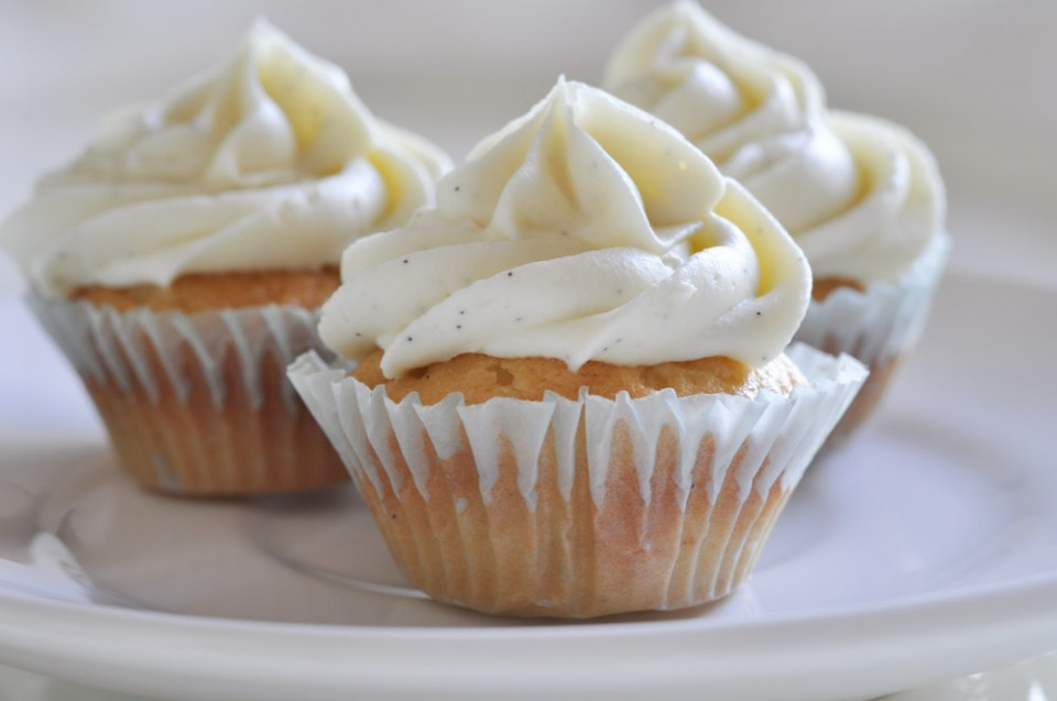 Vanilla Bean Cupcakes with Whipped White Chocolate Vanilla Bean ...
