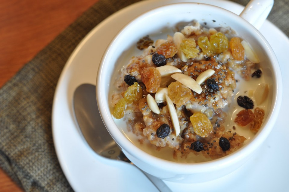 Apple Steel Cut Oats with Golden Raisins, Currants, Almonds and Chia Seeds