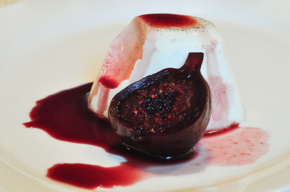 Panna Cotta with Red Wine Syrup and Figs