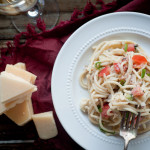 Spaghetti with White Wine Cream Sauce and Vegetables