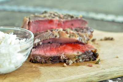 Garlic and Rosemary Crusted Beef Tenderloin with Creamy Horseradish Sauce