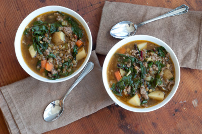 Chard, Lentil and Potato Soup with Sausage