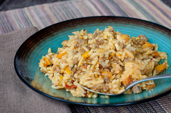 Sausage and Peppers with Orzo