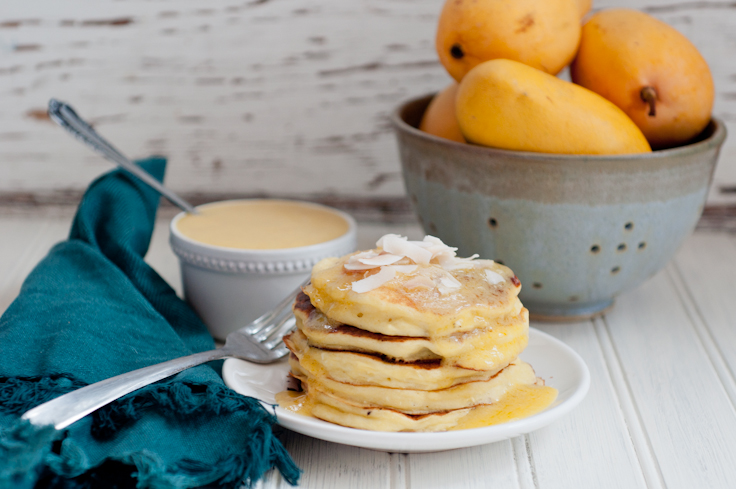 Coconut Pancakes and Mango Sauce