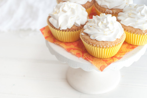 Orange Cupcakes with Lemon Whipped Cream Frosting