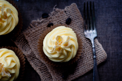 Espresso Velvet Cupcakes with White Chocolate Mousse and Candied Lemon Peel